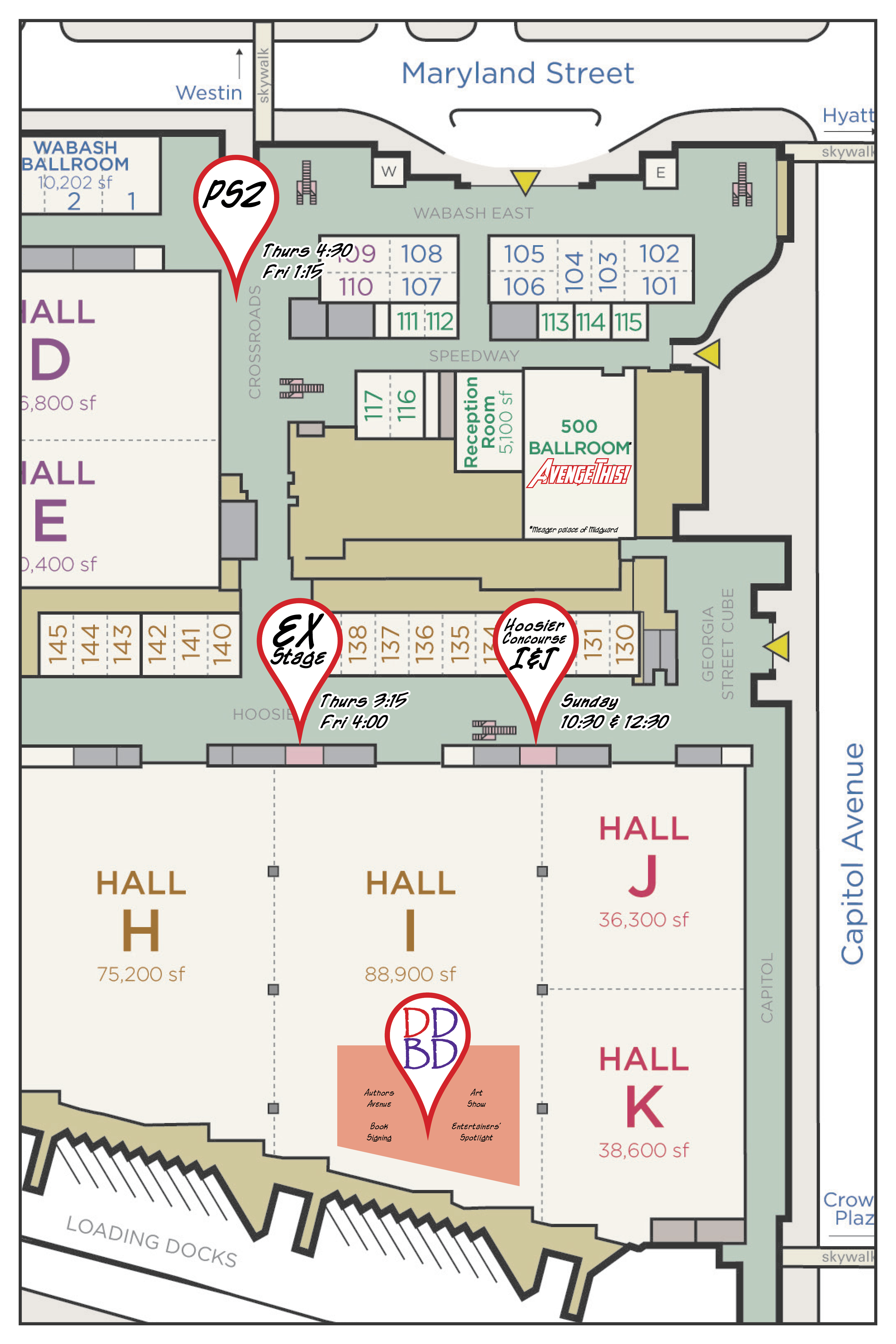 Map showing DDBD locations throughout Gen Con 2015