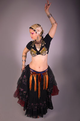 Jeana in full Tribal dance outfit.